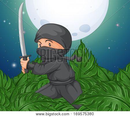 Ninja holding sword in the bush illustration