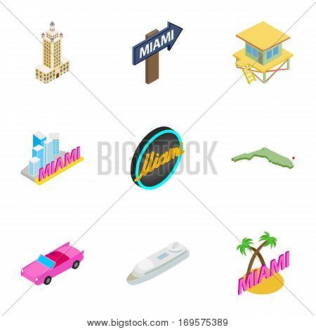 Miami holidays icons set. Isometric 3d illustration of 9 Miami holidays vector icons for web
