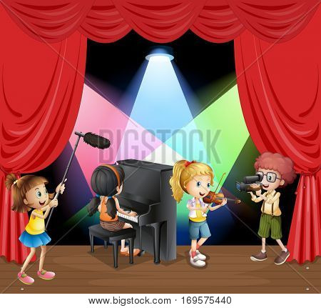 Many children playing music on stage  illustration
