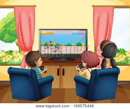 Kids playing racing game on TV illustration