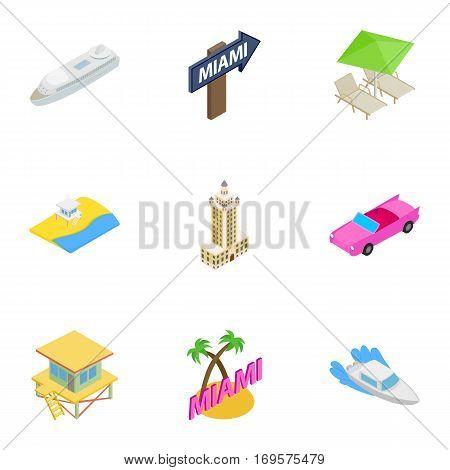 Miami Beach, Florida icons set. Isometric 3d illustration of 9 Miami Beach, Florida vector icons for web