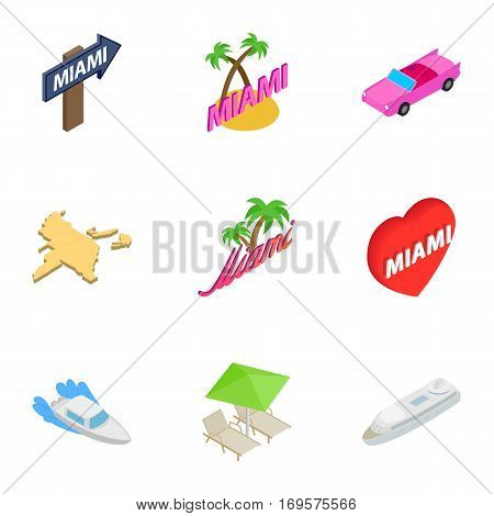 City Miami icons set. Isometric 3d illustration of 9 city Miami vector icons for web