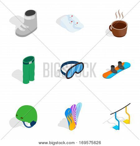 Snowboarding elements icons set. Isometric 3d illustration of 9 snowboarding elements vector icons for web