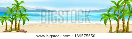 Scene with beach and ocean illustration
