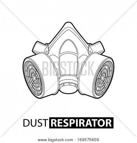 Outline multi-purpose respirator mask on white