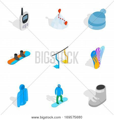 Winter sports equipment icons set. Isometric 3d illustration of 9 winter sports equipment vector icons for web