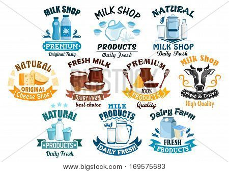 Dairy products icons for milk shop of vector milky food and drinks milk bottle and butter, sour cream and curd, cow head and yogurt or kefir in pitcher, cottage cheese and fresh cream in bowl for milk shop, store or market. Vector isolated emblems