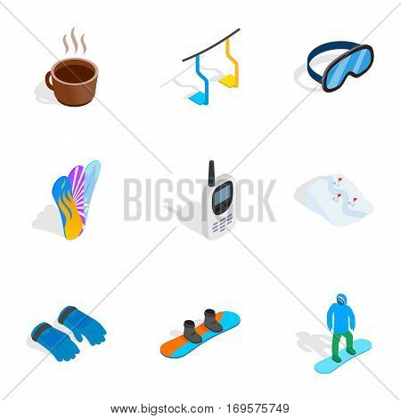 Snowboard equipment icons set. Isometric 3d illustration of 9 snowboard equipment vector icons for web