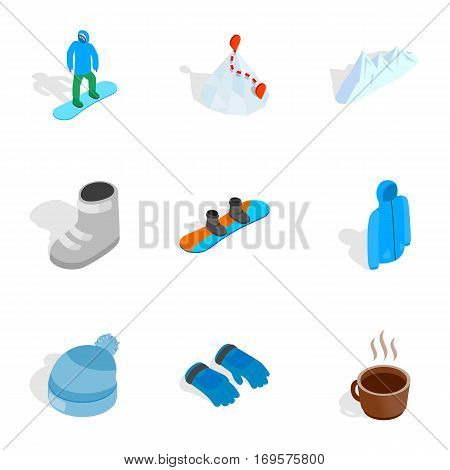 Snowboarding icons set. Isometric 3d illustration of 9 snowboarding vector icons for web
