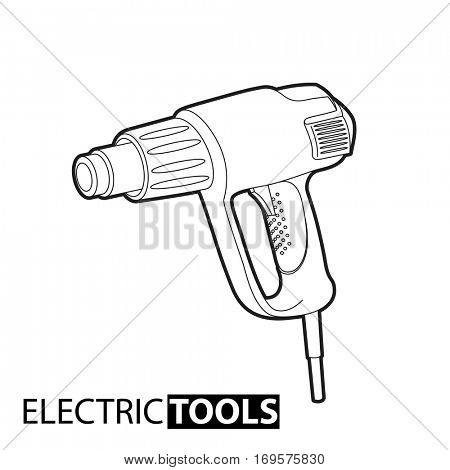 Outline Building dryer on white background
