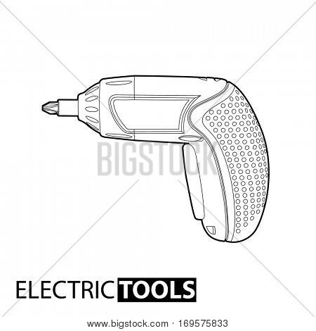 Outline Cordless drill on white background