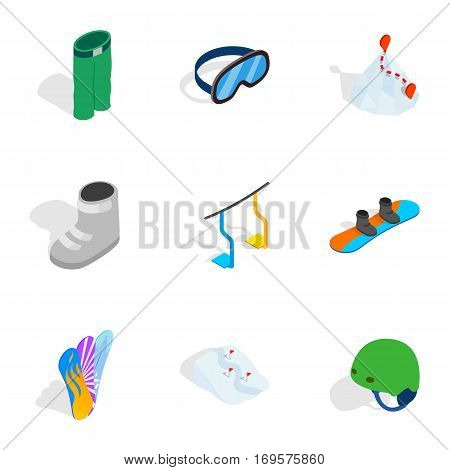 Snowboarding extreme sport icons set. Isometric 3d illustration of 9 snowboarding extreme sport vector icons for web