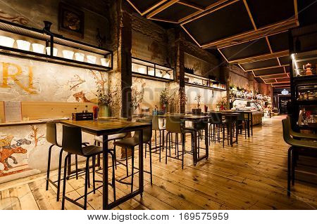 Barcelona Spain - January 05 2017: Interior of the Pirineu en Boca Born restaurant located in a El Born quarter of Barcelona
