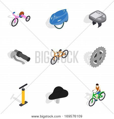 Bicycle equipment icons set. Isometric 3d illustration of 9 bicycle equipment vector icons for web