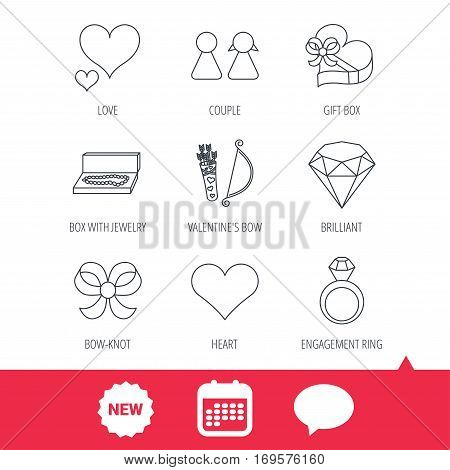 Love heart, brilliant and engagement ring icons. Bow, couple and gift box linear signs. Valentine amour arrows flat line icons. New tag, speech bubble and calendar web icons. Vector