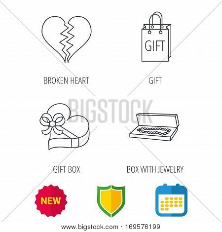Broken heart, gift box and wedding jewelry icons. Box with jewelry linear sign. Shield protection, calendar and new tag web icons. Vector