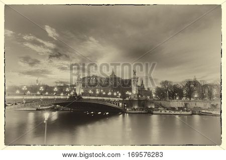 A post card from Paris -  Bridge of the Alexandre III, Paris France - Intentional noise