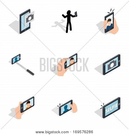 Making selfie, photo icons set. Isometric 3d illustration of 9 making selfie, photo vector icons for web