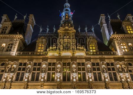 view of Hotel de Ville (City Hall) in Paris, France
