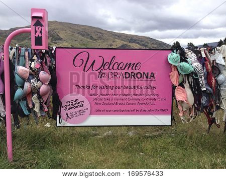 Cardrona, Central Otago,New Zealand- 23 jan,2017:Cardrona Bra Fence gradually became well known site as the number of bras grew to hundreds in Central Otago,New Zealand. Cardrona Bra Fence New Zealand