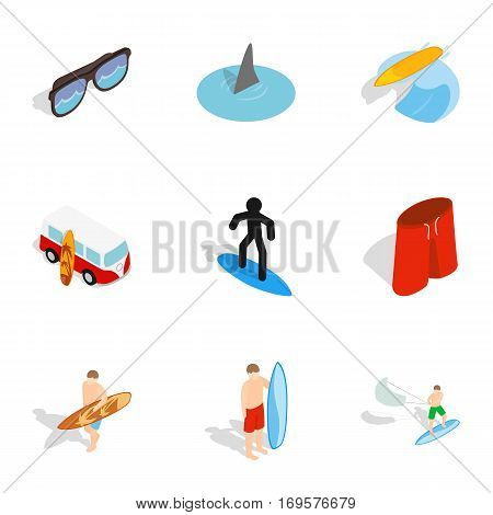 Surf symbols icons set. Isometric 3d illustration of 9 surf symbols vector icons for web