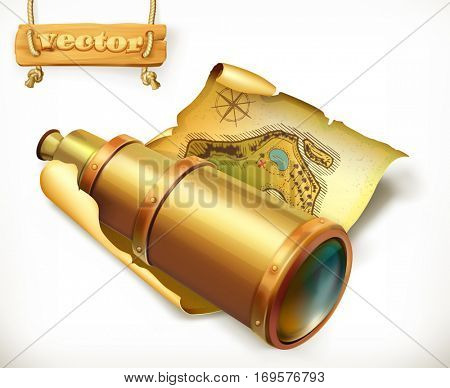 Map and spyglass. Adventure 3d vector icon