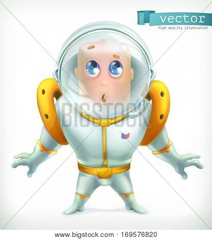 Astronaut in spacesuit. Funny character, 3d vector icon