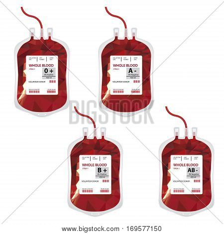 Vector illustration blood bag with label different blood group ABO and Rh system isolated on white. Donate blood concept