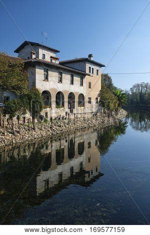 Country house along the Naviglio Grande of Turbigo (Milan Lombardy Italy) at fall