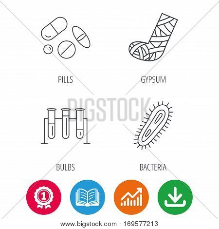 Broken foot, bacteria and medical pills icons. Lab bulbs linear sign. Award medal, growth chart and opened book web icons. Download arrow. Vector