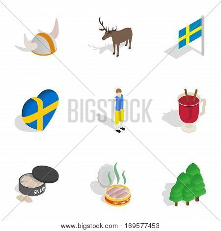 Symbols of Sweden icons set. Isometric 3d illustration of 9 symbols of Sweden vector icons for web