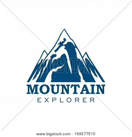 Alpine mountain or rock icon. Vector emblem of blue Alp snow peaks. Isolated badge for alpine climbing extreme sport adventure, mountaineering explorer trip, winter nature trip or tourist camping expedition, skiing or snowboarding