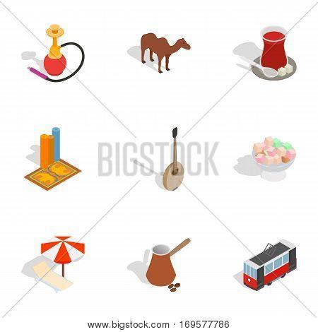 Symbols of Turkey icons set. Isometric 3d illustration of 9 symbols of Turkey vector icons for web