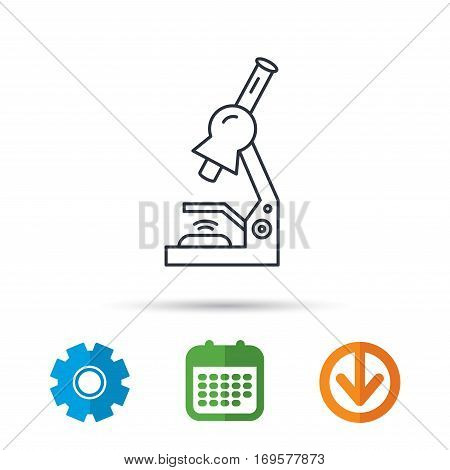 Microscope icon. Medical laboratory equipment sign. Pathology or scientific symbol. Calendar, cogwheel and download arrow signs. Colored flat web icons. Vector