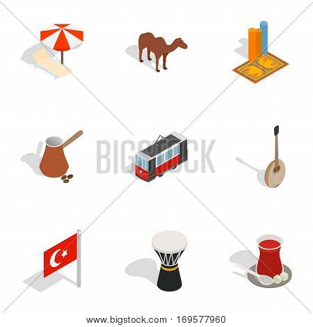 Turkish cultural icons set. Isometric 3d illustration of 9 Turkish cultural vector icons for web
