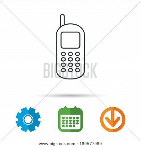 Mobile phone icon. Cellphone with antenna sign. Calendar, cogwheel and download arrow signs. Colored flat web icons. Vector
