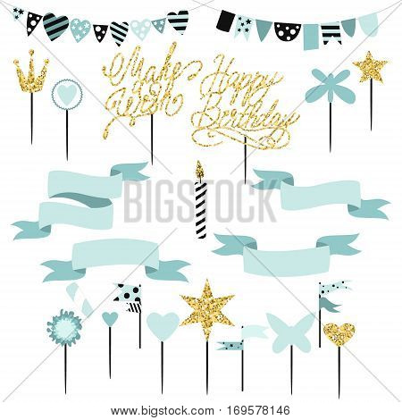 Set of decoration toppers candles and garlands with flags. Vector hand drawn illustration scandinavian style in mint colors with gold glittering elements.
