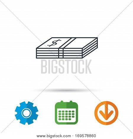 Cash icon. Dollar money sign. USD currency symbol. Calendar, cogwheel and download arrow signs. Colored flat web icons. Vector