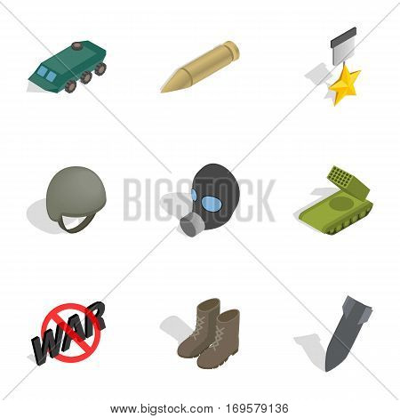 Universal war icons set. Isometric 3d illustration of 9 universal war vector icons for web