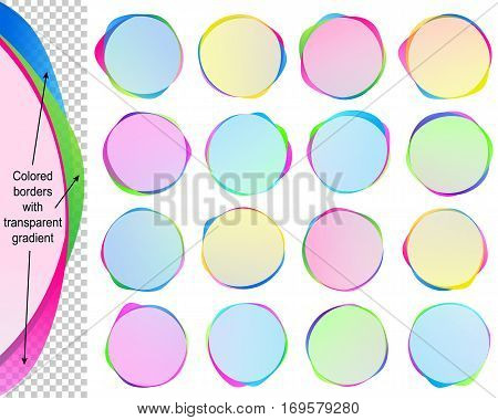 Banners from Speech bubbles with copy space; Text balloons with transparent overlapping colored borders; Vector set icon of round frames Eps10