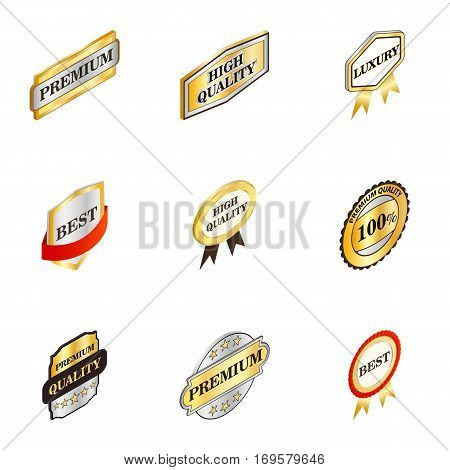 Labels premium quality icons set. Isometric 3d illustration of 9 labels premium quality vector icons for web
