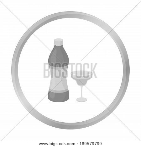 Vermouth icon in monochrome style isolated on white background. Alcohol symbol vector illustration.