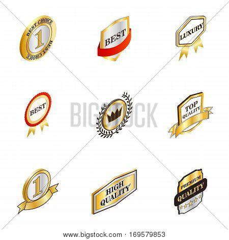 Luxury premium quality golden labels icons set. Isometric 3d illustration of 9 luxury premium quality golden labels vector icons for web