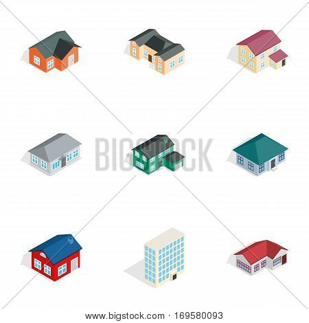 Private residential architecture icons set. Isometric 3d illustration of 9 private residential architecture vector icons for web
