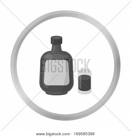 Herbal liqueur icon in monochrome style isolated on white background. Alcohol symbol vector illustration.