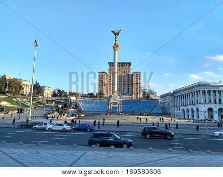 Maidan Nezalezhnosti main square of Kiev , Ukraine.