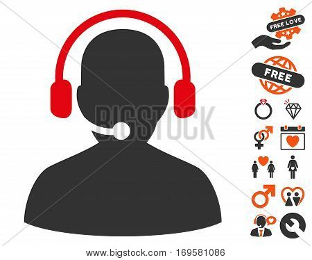Telemarketing pictograph with bonus decoration pictograms. Vector illustration style is flat iconic symbols for web design app user interfaces.