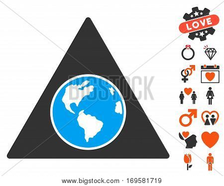 Terra Triangle pictograph with bonus love images. Vector illustration style is flat iconic symbols for web design app user interfaces.