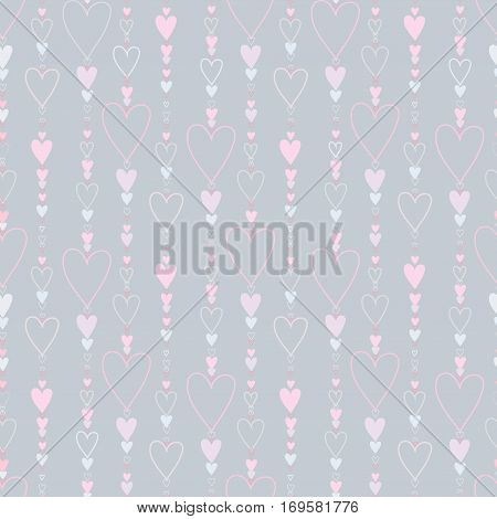 Hearts seamless pattern. Striped love hearts background Red, pink and rose vertical heads line pattern background. Girl child pattern background. Hearts beads design Vector illustration