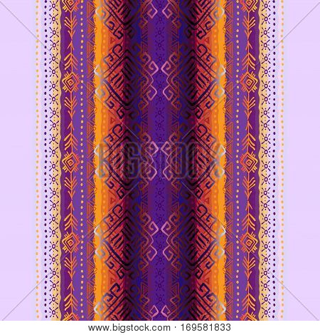 Tribal ornament ethnic orange purple violet vertical seamless pattern background. For ethnic striped design Geometric colorful hand drawn vector illustration stock vector.